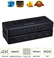 Protokart Premium HDMI Splitter 1 x 4 Port, UHD 2K 4K Support, Full HD 1080P, 3D, HD Audio for Nintendo Switch, Xbox One, Roku 3, HD TV Xbox PS3 PS4, 1 in 4 Out, 1 Year Warranty