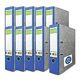 10 x blauer Rücken Ringordner versando® grüner Balken A4 80mm wolkenmarmor mit blauer Engel, made in EU, Schlitzordner, Büroordner