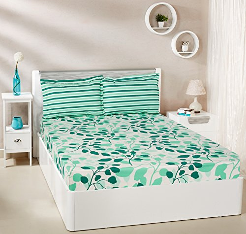 Amazon Brand - Solimo Leafy Spring 144 TC 100% Cotton Double Bedsheet with 2 Pillow Covers, Green