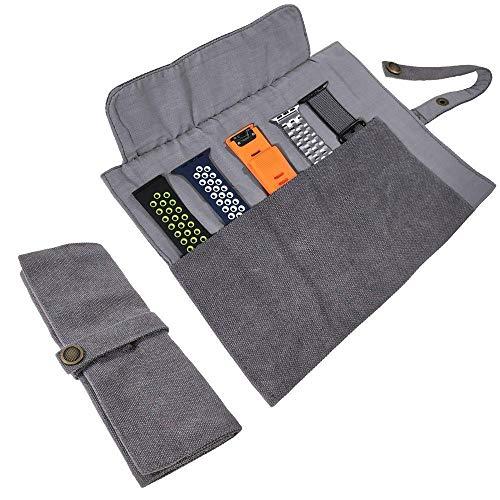 YOOSIDE Uhrenarmband Zubehör, Smartwatch Band Baumwolle Canvas Tragbare Aufbewahrungstasche Tasche Organizer-kompatibel mit Apple Uhrenarmband, Garmin Uhrenarmband, Samsung Uhrenarmband,Dunkelgrau