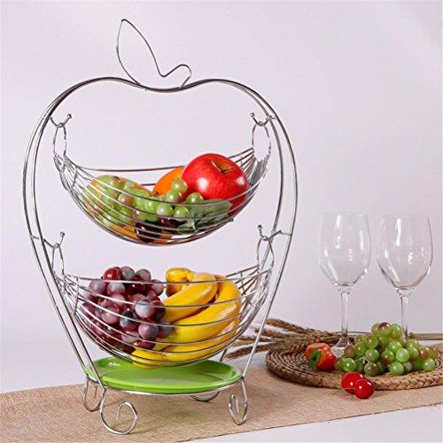 SHOUNALANX 2-Tier-Obstschale Frucht-Korb-Faden-Leere Frucht-Schüssel Multifunktions-Süßigkeit-Kasten-europäischer Art-Frucht-Teller, Silver -