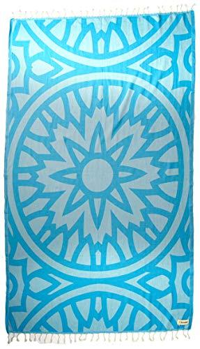 Bersuse Designer Kollektion GOTS-Zertifiziert 100% Bio Baumwolle - Flamenco Türkisches Hamamtuch Peshtemal - 95 x 175 cm, Aqua Blau -