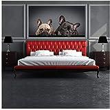 azutura Bulldog francés Fotomurales Perritos Cachorros Papel Pintado Dormitorio Decoración Disponible en 8 Tamaños Pequeño Digital