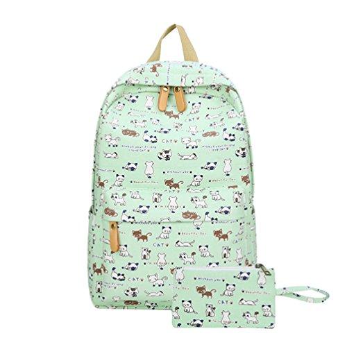 Imagen de yuandian niña primaria & secundaria escuela adolescente lona impresión de dibujos animados carteras colegio  escolar aire libre viajes impermeable bolsa de lápiz gratuita verde