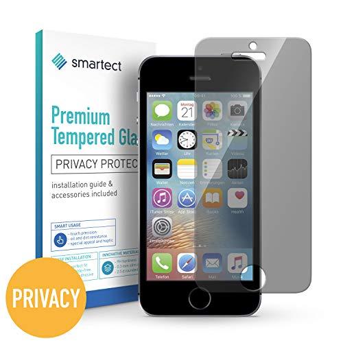 smartect Privacy Panzerglas für iPhone SE / 5 / 5s / 5c mit Blickschutz [Privacy] - Displayschutz mit 9H Härte - Anti-Spy Blickschutzfolie mit Sichtschutz Filter - Blasenfrei (Iphone 5s-rot Ersatz-glas)