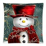 Gusspower Fundas de Cojines 45x45,Funda de Almohada Lino Funda de Cojín de la Cintura Sofá Decoración para Hogar Feliz Navidad (A)