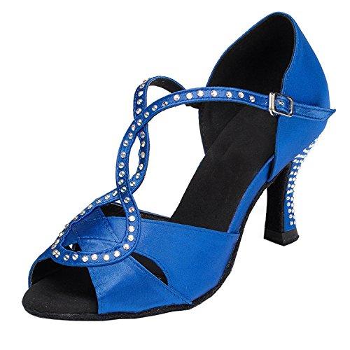 Minitoo femme Talon de l'escarpin T-strap chaussons de danse Satin latins chaussures Bleu