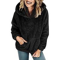 Hanomes Damen pullover, Frauen mit Kapuze Sweatshirt Mantel Winter warme Wolle Taschen Baumwolle Mantel Outwear preisvergleich bei billige-tabletten.eu