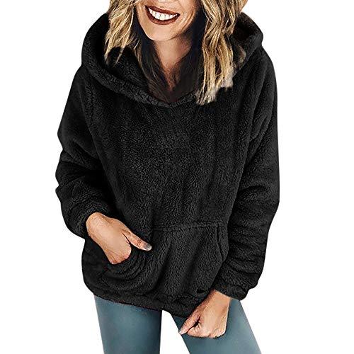 BHYDRY Frauen-Kapuzenpulli-Mantel-Winter-warme Wolltaschen Baumwollmantel Outwear(EU-38/CN-L,Schwarz)
