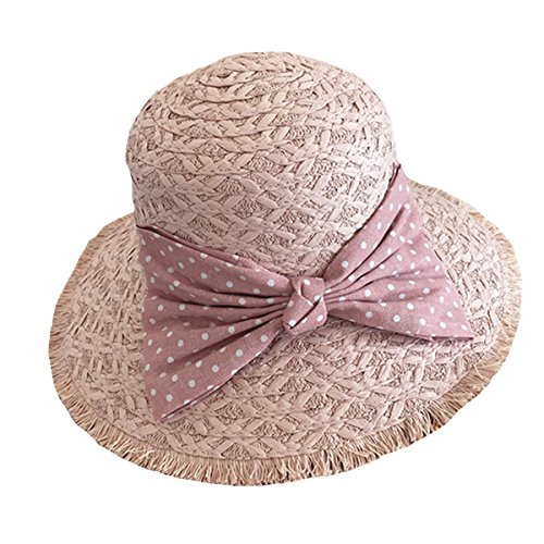 Butterme Damen Raffia Straw Hat klappbare Kappe flexible Sommer Strand Sonne Hüte With Point Bowkot Band (Hell Pink) (Raffia Damen Hut)