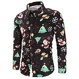 CharMma Herren Hemd Weihnachten Thema Knöpfbar Langarm Stehkragen Shirt (Schwarz 2, 3XL)