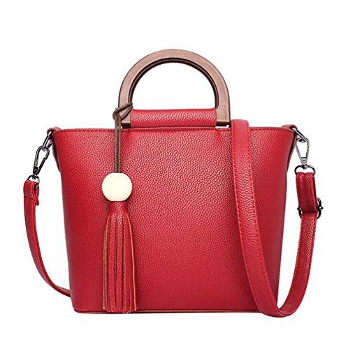 WanYang Donna Borsa Handbag A Spalla Righe In PU Cuoio Cerniera Design Handbag Shoulder Bag Tote Bag Vino Rerde