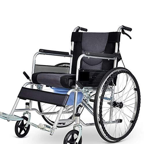 L-Y Candyana Alter Einfachheit Rollstuhl mit Toilette Folding Lightweight Portable Alter Einfachheit Alter Einfachheit Rollstühle mit Abnehmbaren Kissen Trolley für Ältere Menschen und Behinderte (Portable Toiletten Für ältere Menschen)