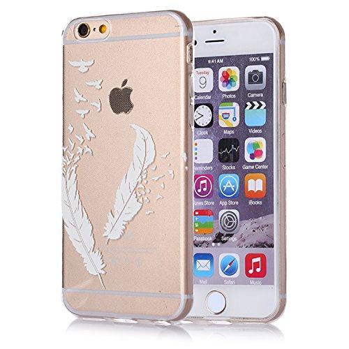 tinxi® Coque Apple iPhone 6 6s(4,7 Pouces) Coque de protection en silicone TPU pour iPhone 6 6s case cover housse étui coque Ultra mince Transparent avec motif Plumes Blanches (0,7mm) transparent