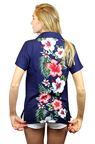 Original King Kameha | Funky Hawaiibluse | Damen | XS - 12XL | Kurzarm | Front-Tasche | Hawaii-Print | Wedding Traditionell Blumen | Blau Blau