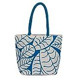 Utsav Kraft Blue Leaves Designer Jute Ba...