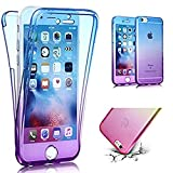 iPhone SE Case [Non-slip],Vandot Shockproof Ultra Thin Slim Fit Soft TPU Silicone All Round Front and Back Full Body 360 Degree Protective Case Cover For Apple iPhone SE 5S 5-Transparent Purple Blue thumbnail