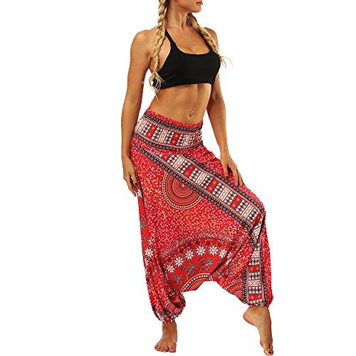 YWLINK Damen Kleidung,Frauen BeiläUfige Sommer Lose Yoga Hosen Elegant Baggy Boho Aladdin Overall Pluderhosen