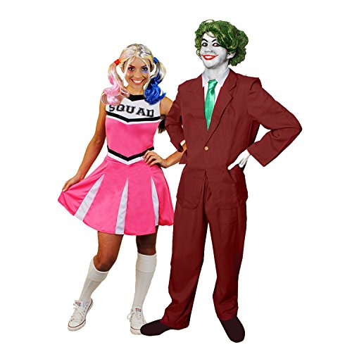 JOKER CHEERLEADER PAAR KOSTÜM VERKLEIDUNG HALLOWEEN KARNEVAL FASCHING =ROSA CHEERLEADER KLEID+PERÜCKE+MAKE UP+HOSENANZUG+KRAWATTE+PERÜCKE+HANDSCHUHE + MAKE UP= CHEERLEADER-XSMALL + JOKER-LARGE