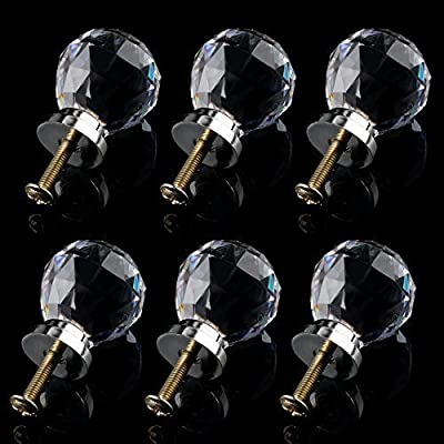 6 x Crystal Glass Clear Door Knobs / Handles *Mabel* 30mm Drawer Kitchen Silver