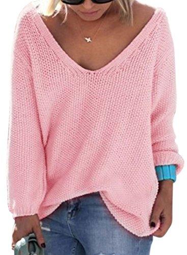 Nlife Frauen Strickte V-Ausschnitt Langarm Pullover Bluse Tops, Gr. XL, Farbe: Pink (V-neck-shirt Gerippter)