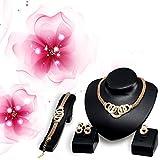 yuneody Luxus Schmuck Set vergoldet Kreis Strass Halskette Ohrringe Armband