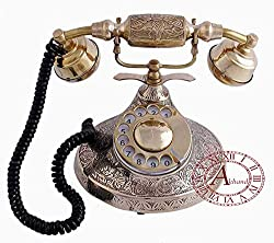 Akhandstore Vintage Table Brass Retro Telephone Round Hand Carved Old Rotary Dial Antique Landline Telephone (WORKING ONLY BSNL / MTNL)