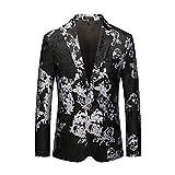 ZODOF Chaqueta Traje Hombre Estampada Casual Negocio Boda Manga Larga Impresión Floral Abrigo Jacket Trajes de Chaqueta 2019 Hombre,Negro