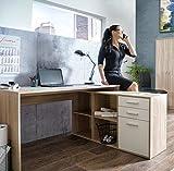 Schreibtisch, Eckschreibtisch, Winkelschreibtisch, Bürotisch, Computertisch, Arbeitstisch, Büroarbeitsplatz, weiss, weiß, Sonoma Eiche