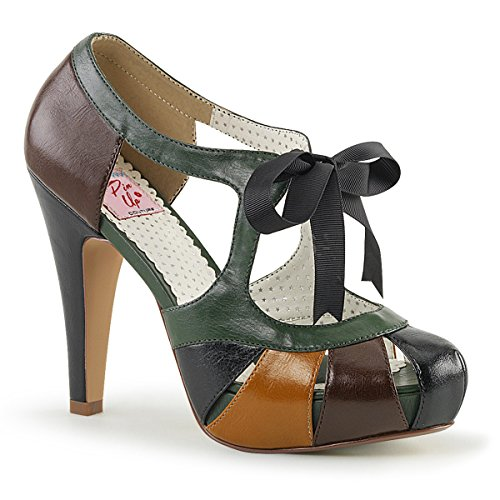 Pin Up Couture BETTIE-19 Brown Multi Faux Leather UK 5 (EU 38 )