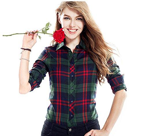 ACVIP Chemisier Femme/Fille Étudiante Carreaux Blouse Casuel Manche Longue Shirt Coton avec Boutons,17 Couleurs 3#