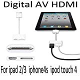 AV Digital 30-pin Adapter to HDMI to connect Apple iPhone 4/4S And iPad 2 Apple iPad3 iPod Touch (iOS9 iOS8 compatible) To TV Monitor Projector HD Device and Charge At The Same Time by BeckenBower