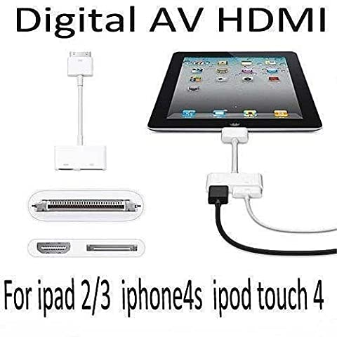 BeckenBower Digitaler Adapter für Apple-Geräte (AV zu HDMI, um iPhone 4 / 4S, iPad 2 / 3 oder iPod Touch an einen Fernseher, Monitor oder Beamer anzuschließen, Gerät wird gleichzeitig aufgeladen)