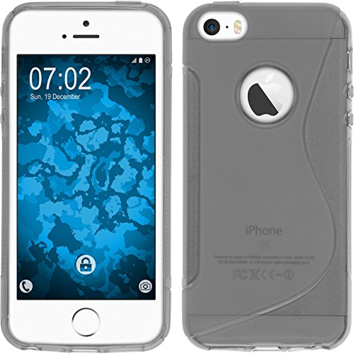 PhoneNatic Case für Apple iPhone SE Hülle Silikon blau S-Style Logo Cover iPhone SE Tasche + 2 Schutzfolien Grau