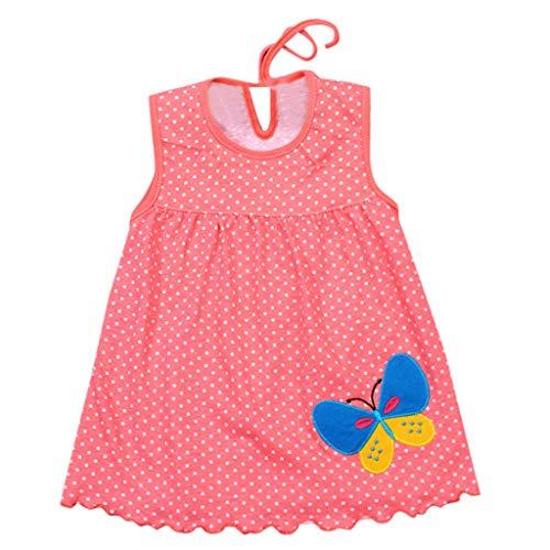 ider Mode Baby Kleider Sommerkleider Knielang Kleider mit Polka Dots Mädchen Ärmellos Blumenkleid Cartoon T-Shirt Kleider Tank Kleid ()