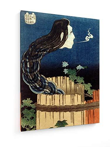 Hokusai - Der Schüsselpalast - 30x40 cm - Textil-Leinwandbild auf Keilrahmen - Wand-Bild - Kunst, Gemälde, Foto, Bild auf Leinwand - Alte Meister/Museum