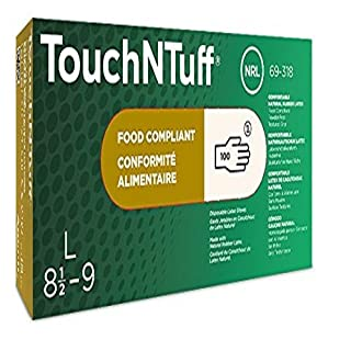 Ansell TouchNTuff 69-318 Natural rubber latex gloves, chemical & liquid protection, Natural, Size 7.5-8 (Box of 100 gloves)