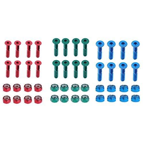 Sharplace 24 x Schrauben und Muttern für Skateboards, Schrauben Länge: ca. 2,54 cm (Longboard Schrauben Muttern Und)