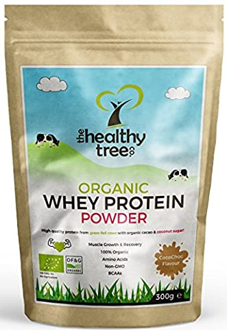 Organic Whey Protein Powder: CocoChoc Flavour - High in Amino Acids and BCAAs with Free 15g Scoop - Pure Organic Protein From Grass-Fed Cows by TheHealthyTree Company -