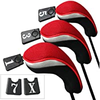 Andux funda de palo de golf para drivers maderas con intercambiable No. etiqueta set de 3 MT/mg01 Negro/rojo