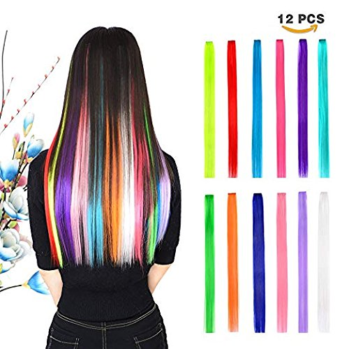 Lange Extensions Haar clip in Echthaar, 12 Bunte Strähne Perücke gestreift für Fasching, Karneval, Halloween & Theater, Party, Damen Kinder(50 cm)
