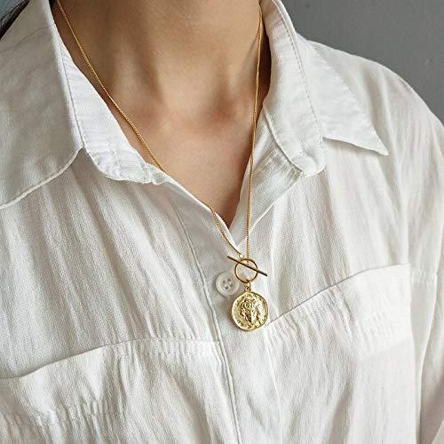 925 sterling silber MS porträt halskette gold runde münze wilden Abbildung halskette silber-pullover kette für frauen schmuck charme