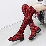 TianWlio Boots Stiefel Schuhe Stiefeletten Frauen Herbst Winter Wildleder Leopardenmuster Runde Spitze hohe Stiefel Overknee Schuhe Stiefel Weihnachten rot 40