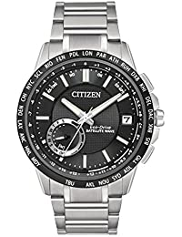 Citizen Satellite Wave-World Time GPS Men's Quartz Watch with Black Dial Analogue Display and Silver Stainless Steel Bracelet