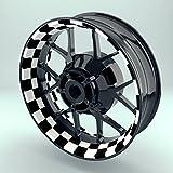 Felgenrandaufkleber Motorrad 4er Komplett-Set (17 Zoll) - Felgenaufkleber Racingflag schwarz-weiß (Design 2 - glänzend)