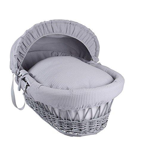Clair de Lune Waffle Grey Wicker Moses Basket, Grey