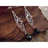 ★ Ornamento & GOCCE ★ eleganti, orecchini di festa con cristalli in nero