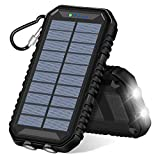 ADDTOP Solar Charger 15000mAh, Portable Power Bank with Dual USB Ports Waterproof External