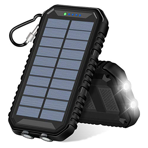 Addtop caricabatterie solare portatile power bank con 2 porte usb impermeabile batteria esterna per iphone, samsung galaxy e altri smartphone android
