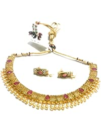 OranGey Fashion - Ultimate Coloured Pearl Gold Plated Kundan Necklace Set With Beautiful Kundan Ear Drop - B078FN2N8G